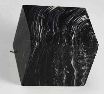 BANDED BLACK AND WHITE TRU-STONE BLOCK *CHIPPED CORNER* - 1.5